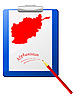 Vector clipart: the clipboard with map of Afghanistan