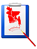 Vector clipart: the clipboard with map of Bangladesh