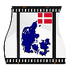 Vector clipart: image footage with map of Denmark