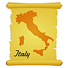 Vector clipart: parchment with silhouette of Italy