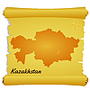 Vector clipart: parchment with silhouette of Kazakhstan