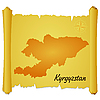 Vector clipart: parchment with silhouette of Kyrgyzstan
