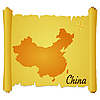 Vector clipart: parchment with silhouette of China