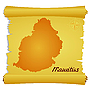 Vector clipart: parchment with silhouette of Mauritius