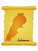 Vector clipart: parchment with silhouette of Lebanon