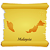 Vector clipart: parchment with silhouette of Malaysia