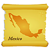 Vector clipart: parchment with silhouette of Mexico