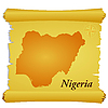 Vector clipart: parchment with silhouette of Nigeria