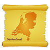 Vector clipart: parchment with silhouette of Netherlands