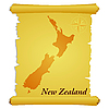 Vector clipart: parchment with silhouette of New Zealand
