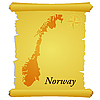 Vector clipart: parchment with silhouette of Norway