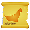 Vector clipart: parchment with silhouette of United Arab Emirates