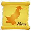 Vector clipart: parchment with silhouette of Pakistan