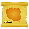 Vector clipart: parchment with silhouette of Poland