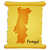 Vector clipart: parchment with silhouette of Portugal