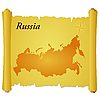 Vector clipart: parchment with silhouette of Russia