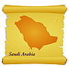 Vector clipart: parchment with silhouette of Saudi Arabia