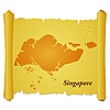 Vector clipart: parchment with silhouette of Singapore