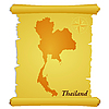 Vector clipart: parchment with silhouette of Thailand