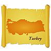 Vector clipart: parchment with silhouette of Turkey