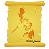 Vector clipart: parchment with silhouette of Philippines
