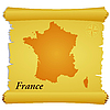 Vector clipart: parchment with silhouette of France