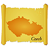 Vector clipart: parchment with silhouette of Czech