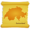 Vector clipart: parchment with silhouette of Switzerland
