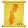 Vector clipart: parchment with silhouette of Sweden
