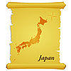 Vector clipart: parchment with silhouette of Japan