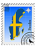 stamp with the image maps of Sweden