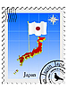 Vector clipart: stamp with the image maps of Japan