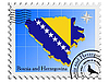 stamp with the image maps of Bosnia and Herzegovina