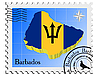 Stamp with the image maps of Barbados | Stock Vector Graphics