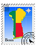 Vector clipart: stamp with the image maps of Benin