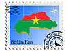 Vector clipart: stamp with the image maps of Burkina Faso