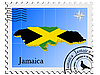 Vector clipart: stamp with the image maps of Jamaica
