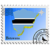 Vector clipart: stamp with the image maps of Botswana