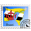 Vector clipart: stamp with the image maps of Brunei