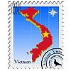 Vector clipart: stamp with the image maps of Vietnam