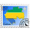 stamp with the image maps of Gabon