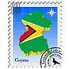 Vector clipart: stamp with the image maps of Guyana