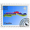 Vector clipart: postage stamp with map of Gambia
