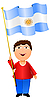 Vector clipart: boy with the flag of Argentina