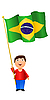 Vector clipart: boy with the flag of Brazil