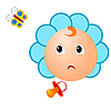 Vector clipart: an infant with pacifier and butterfly