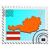 Vector clipart: stamp with the image maps of Austria