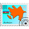 Vector clipart: stamp with the image maps of Azerbaijan