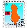 stamp with the image maps of Albania