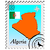 stamp with the image maps of Algeria